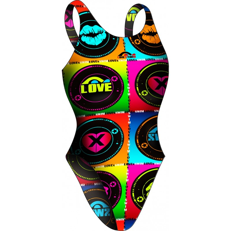 Women swimsuit Wide strip Pop Love