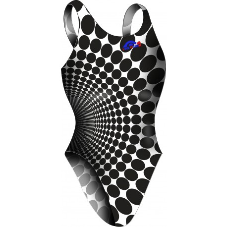 Women swimsuit Wide Strip Dots